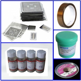BGA Reballing Kit: 80 pcs Heat Direct BGA Stencil Kit + Solder Flux + Solder Bal l+ Desoldering Braid + High Temperature Tape