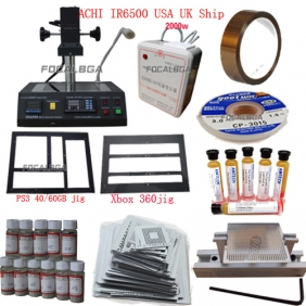 Full Set BGA Rework Station ACHI IR6500/IR-6500+Heat Direct BGA Stencils+Transformer